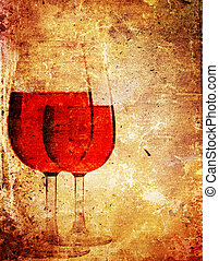 paper wine - An old book paper with a picture of glasses of...