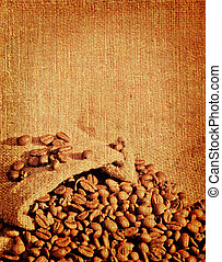 coffee - An old book paper with a picture of coffee beans