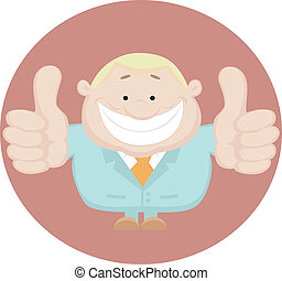 Businessman showing thumbs up. Vect