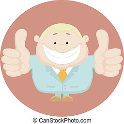 Illustration of businessman showing thumbs up