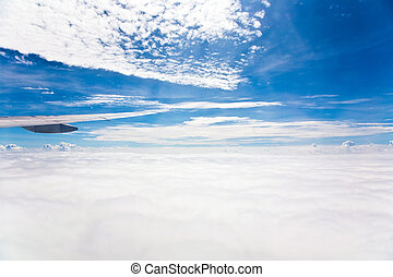 kind on clouds on a background a firmament from an airplane...