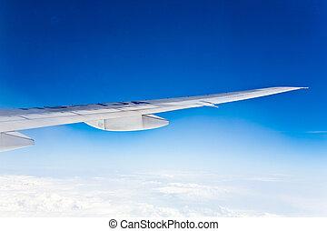 firmament, clase, nubes, Plano de fondo, avión, alas