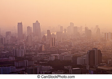 view to the skyline and river of Bangkok from a skyscraper...