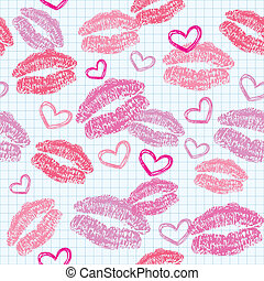 pattern with kisses - seamless pattern with kisses and...