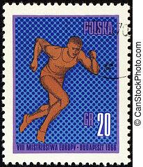 Runner on post stamp