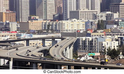 San Francisco Freeway - Freeway and downtown San Francisco