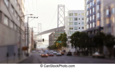 Traffic and Bay Bridge - Morning street scene with the...