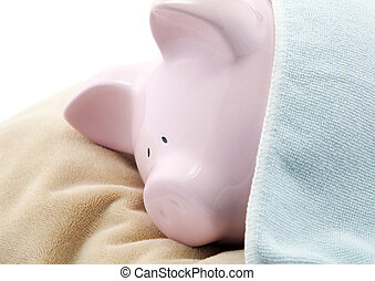 Sleeping piggy bank