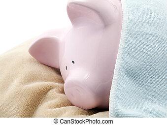 Sleeping piggy bank