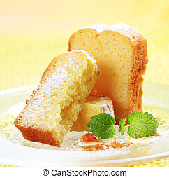 Pound cake - Sweet breakfast - Slices of pound cake