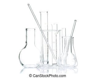 Laboratory glassware for liquids on white background