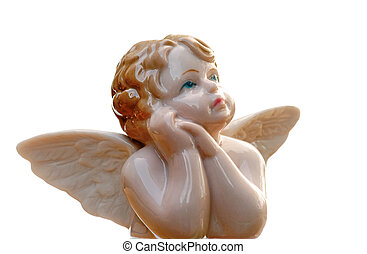 Angel - Antique porcelain angel on blue sky