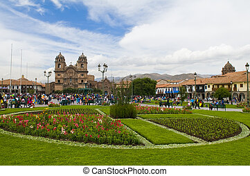 "Cusco - The ""Plaza the Armas"" , a main tourist attraction in..."
