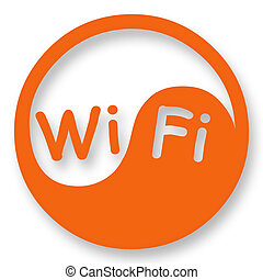 Wi-Fi internet access sign stylized in Yin Yang
