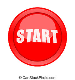 Start Button - Red glossy Start button isolated on white...