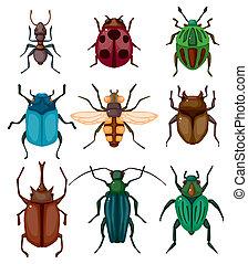 dessin animé, insecte, bogue, icône