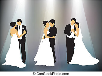 wedding collection - Set of newly married couple silhouettes...