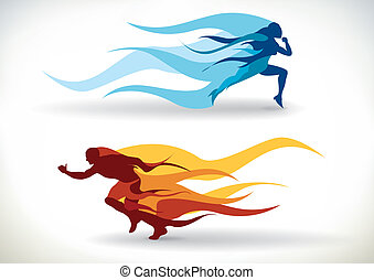 Speed - Female and male silhouette running in flames