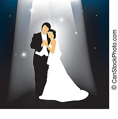 wedding night - A married couple in front of a starry...