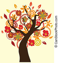 Fall tree - Vector illustration of a fall tree