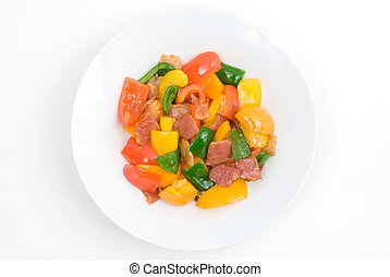 Stir fry of bell pepper and bacon