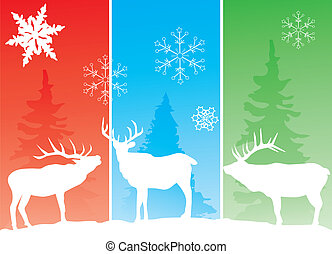 Three deer - Vector illustration of a background with deer
