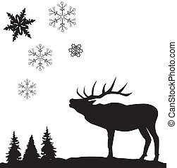 Reindeer card - Vector illustration of a reindeer cars