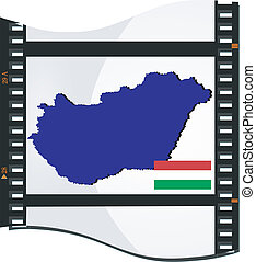 Film shots with a national map of Hungary