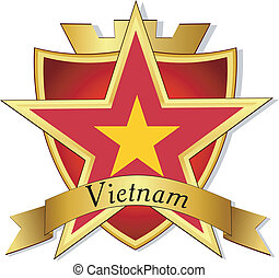 Vector gold star to the flag of Vietnam on the background of...