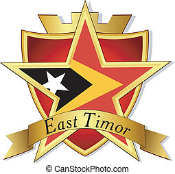 Vector gold star to the flag of  East Timor on the background of the shield