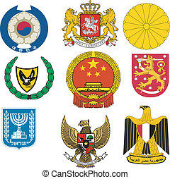 Collection of vector illustrations of coats of arms