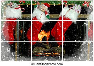 Christmas Fireplace - Christmas stockings hanging on a...