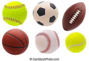 Assorted Sports Balls - Six assorted sports balls over a...