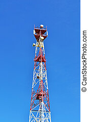 Cell tower and radio antenna - Mast cellular with microwave...