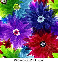 Seamless floral vivid pattern with colorful flowers vector...