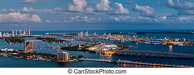 Aerial view of Miami - Aerial view of the Miami Seaport,...