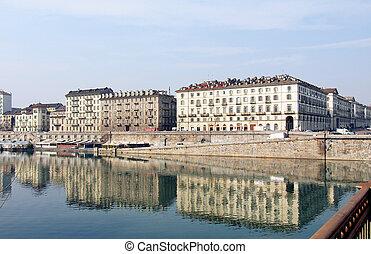 River Po, Turin - Fiume Po (River Po) in Turin Italy