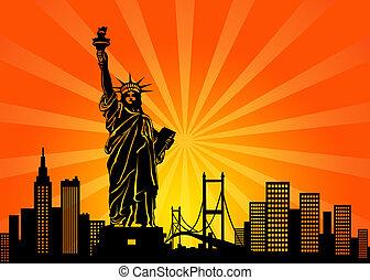 nowy, York, Manhattan, Miasto, sylwetka na tle nieba