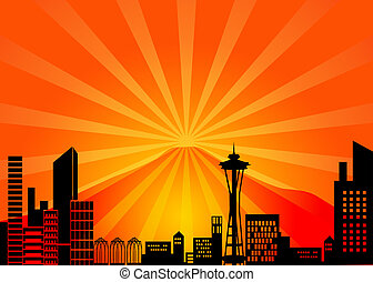 Seattle Washington City Skyline and Mount Rainier...