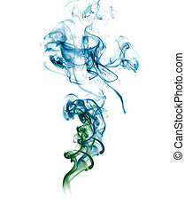 Abstract blue green Smoke - Abstract white Smoke on white...