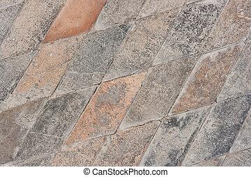 piedra, viejo, piso, muy, -, paralelogramo, azulejos, Plano...