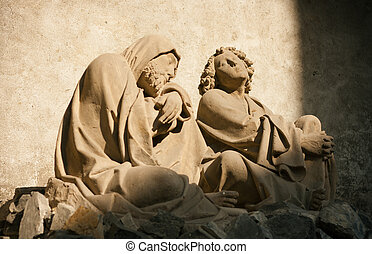 Quiet meditation: statues of Saint James and Saint John...