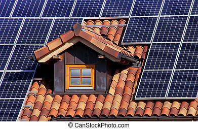 solar roof - solar on the roof with dormer and tiles