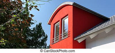 dom, czerwony, Okno mansardowe