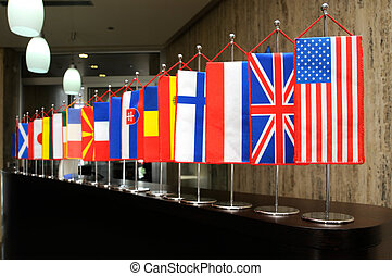 International flags on the reception desk