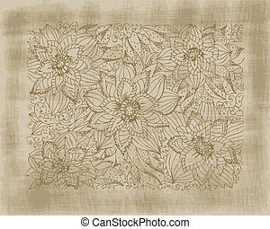 Hand drawing flowers on grunge background
