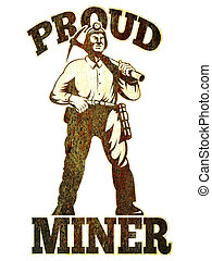 coal miner pick axe retro - graphic design illustration of a...