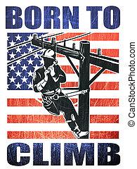 American power lineman electrician repairman retro -...