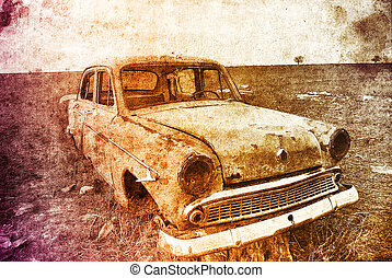 Old car at field. Photo in multicolor image style.