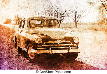 Old classic russian car near road.